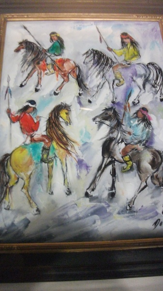 DeGrazia's painting of Apache Indians on horseback