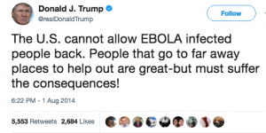 Trump said in 2014 that helping people with Ebola is good but has consequences.