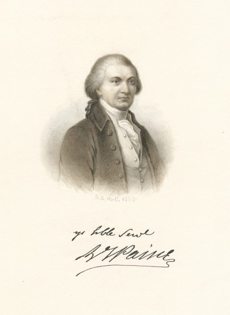 Drawing of Thomas Paine with his signature: Yr humble servant Th Paine.