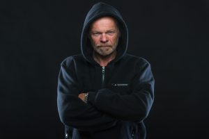 angry old white guy in hoodie