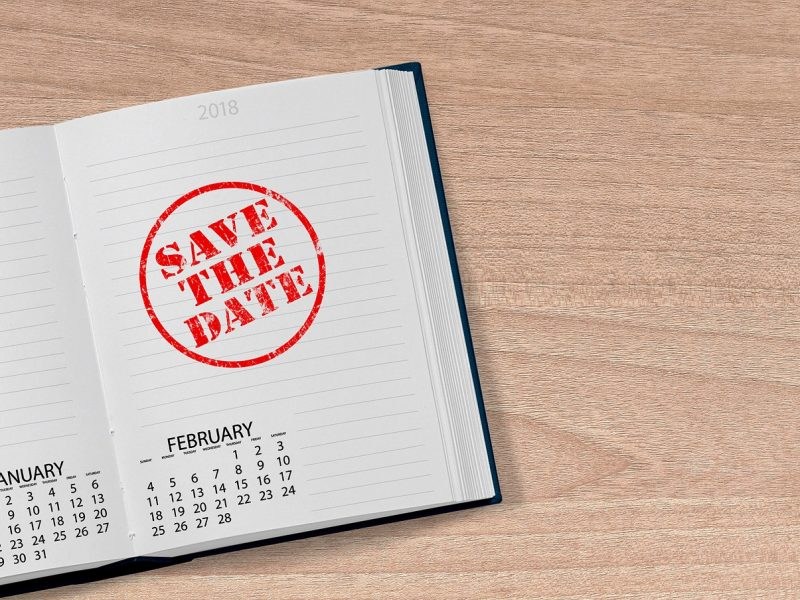 desk calendar with Save the Date