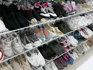 shoe display at retail store
